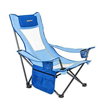 WeJoy Portable Mesh Back Beach Camping Folding Chair With Cup Holder,  Pocket, Detachable Pillow