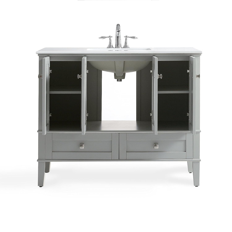 Simpli Home Chelsea 42 inch Bath Vanity with White Quartz Marble Top ...
