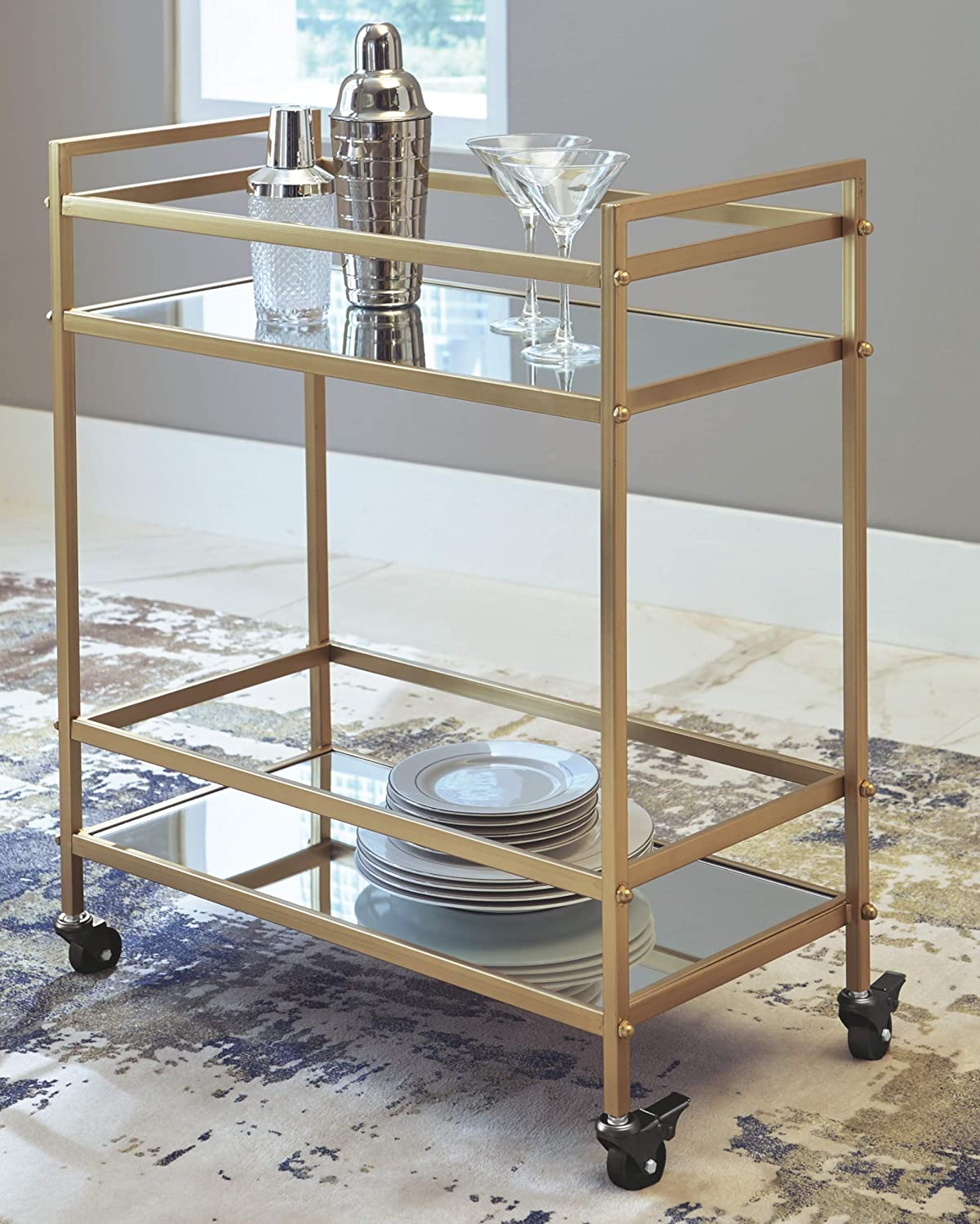 Kailman Midcentury Antique Gold Bar Cart with Mirrored Shelves