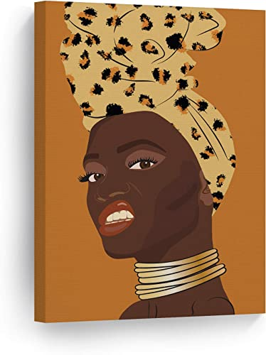 African Woman Yellow Head Wrap Orange Background Modern Art Paint CANVAS Wall Art Print Golden Necklace Wall Decor Bedroom Vanity Living Room Bathroom Ready to Hang 100 Handmade