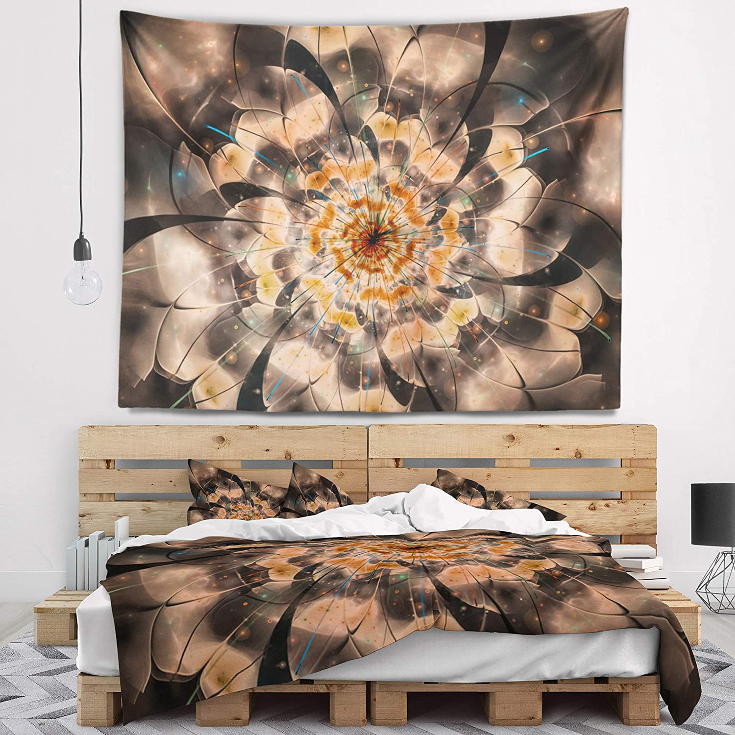 39 x 32 Designart TAP12153-39-32  Brown Fractal Flower Petals Close up Floral Blanket D/écor Art for Home and Office Wall Tapestry Medium