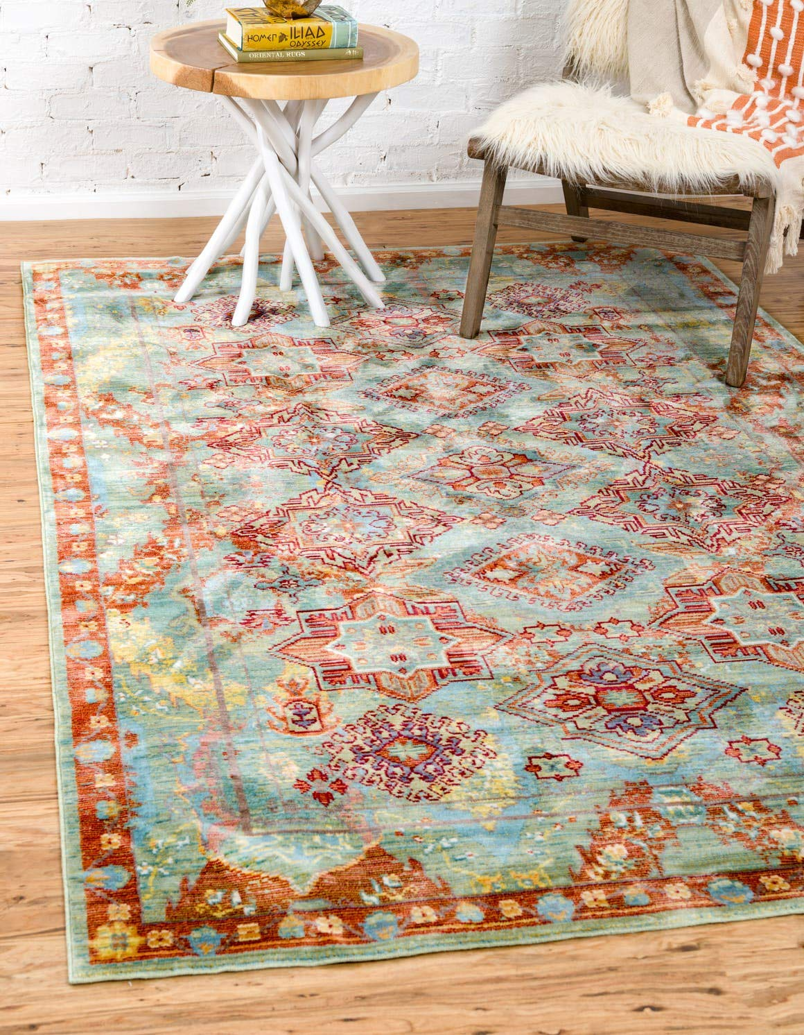 Unique Loom Austin Collection Floral Traditional Vintage Green Area Rug 5 0 x 8 0