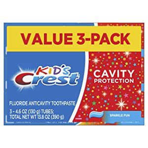Crest Kid's Cavity Protection Toothpaste (children and toddlers 2+), Sparkle Fun Flavor, 4.6 ounces, Pack of 3