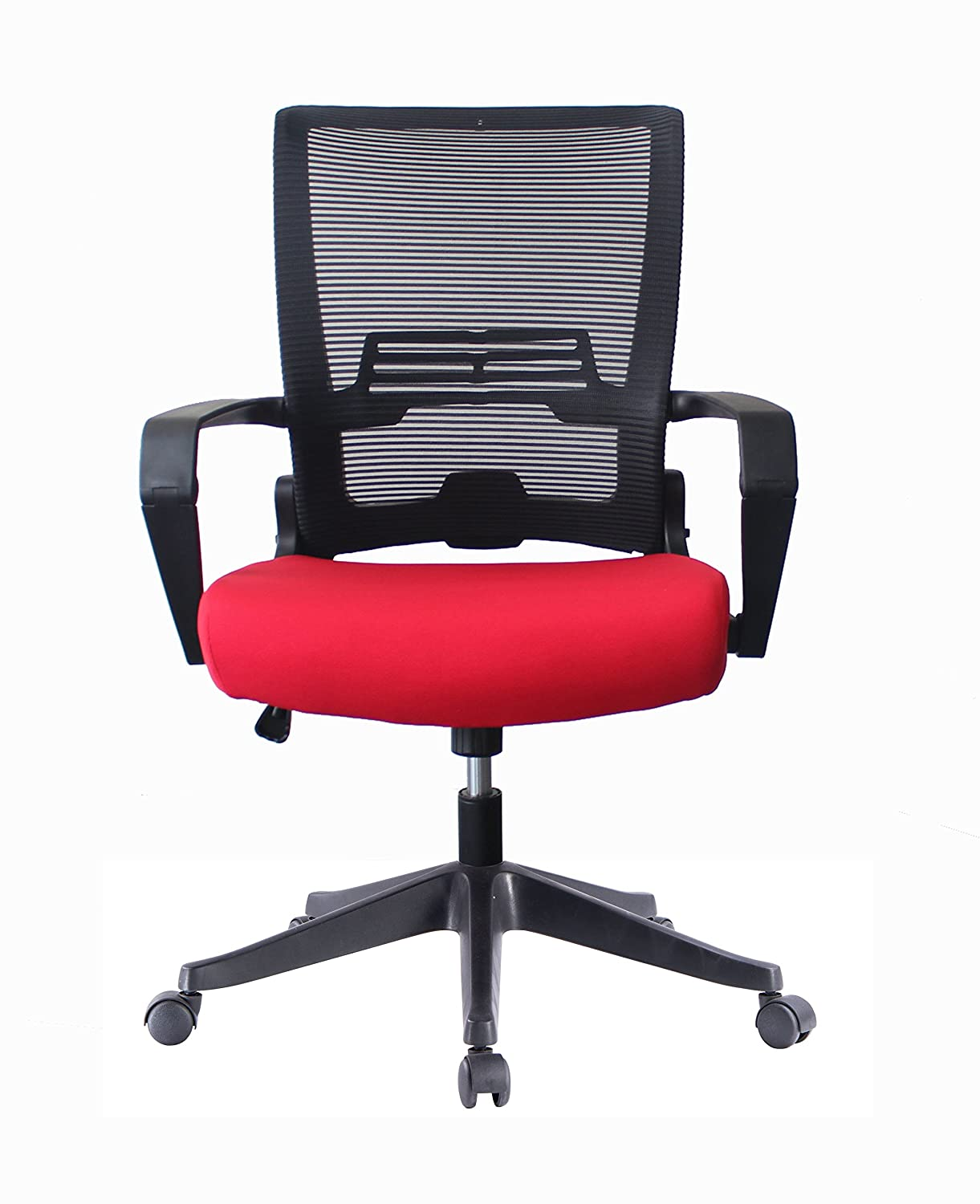 ImpecGear Ergonomic Office Chair High Back Mesh with Adjustable Lumbar Support Headrest and Folded Mesh Back,No Tools Need for Install Custom Color Seat Fabric-RED