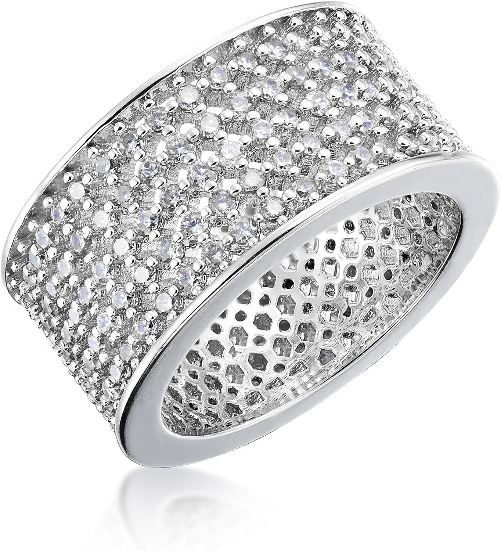 Brightt Cubic Zirconia Fashion .925 Sterling Silver Ring Sizes 5-9