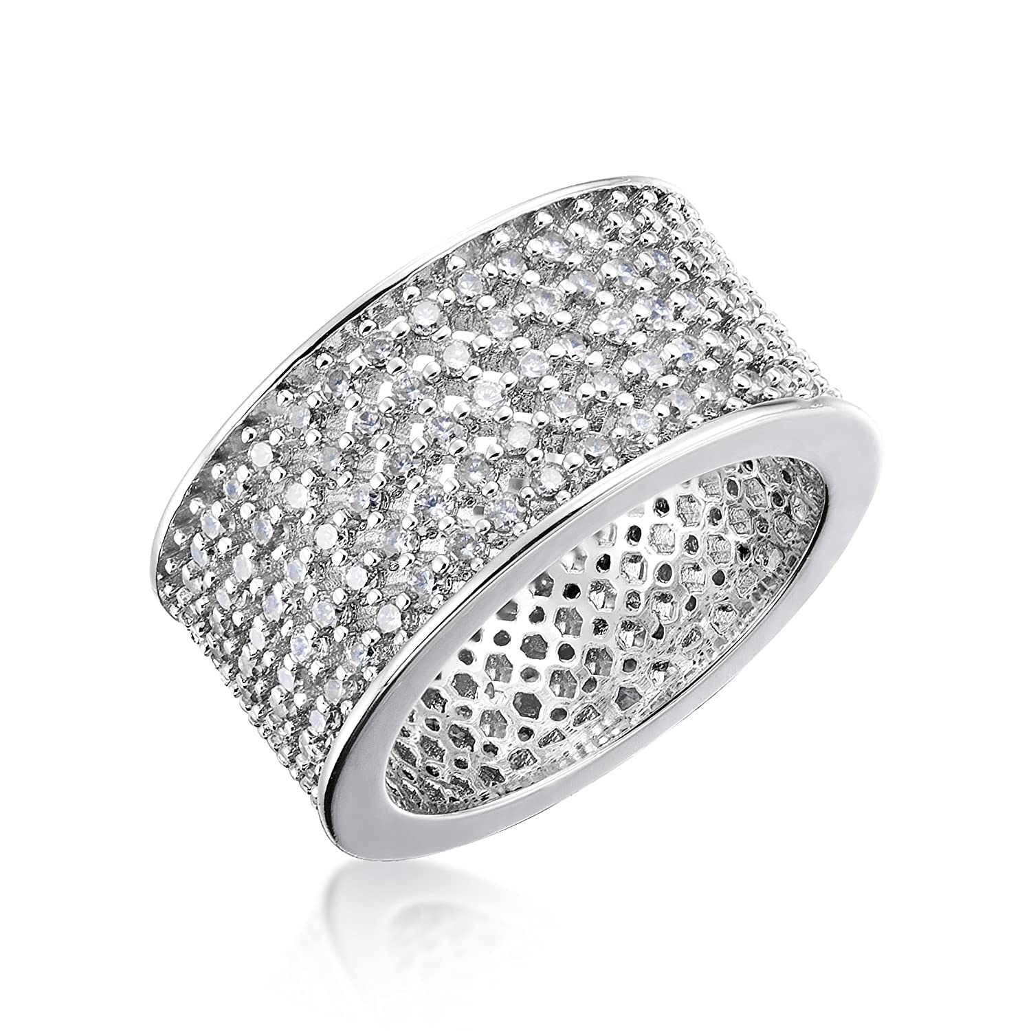 Kezef Cubic Zirconia Micro Pave CZ Wide Band Wedding Ring Size 5-9 By Creations