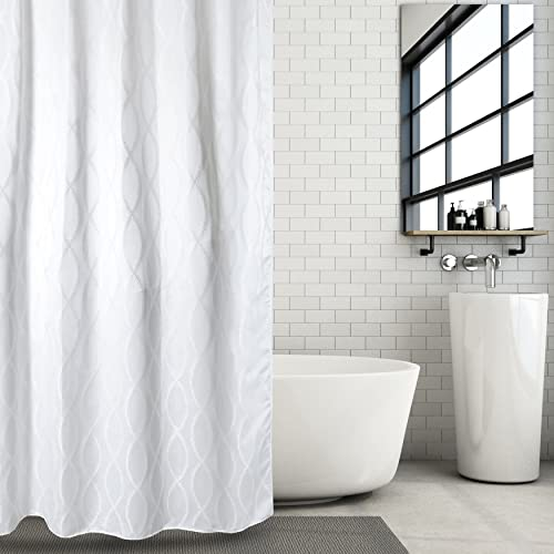 Hermosa Collection Luxury White Jacquard Fabric Shower Curtain