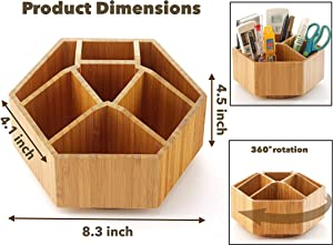 NHZ Bamboo Rotating Office & Art Supply Organizer Multiple Compartments, 7 Sections for Pens, Pencils, Colored Pencil, Desktop Storage Box in Classroom & Art Studio