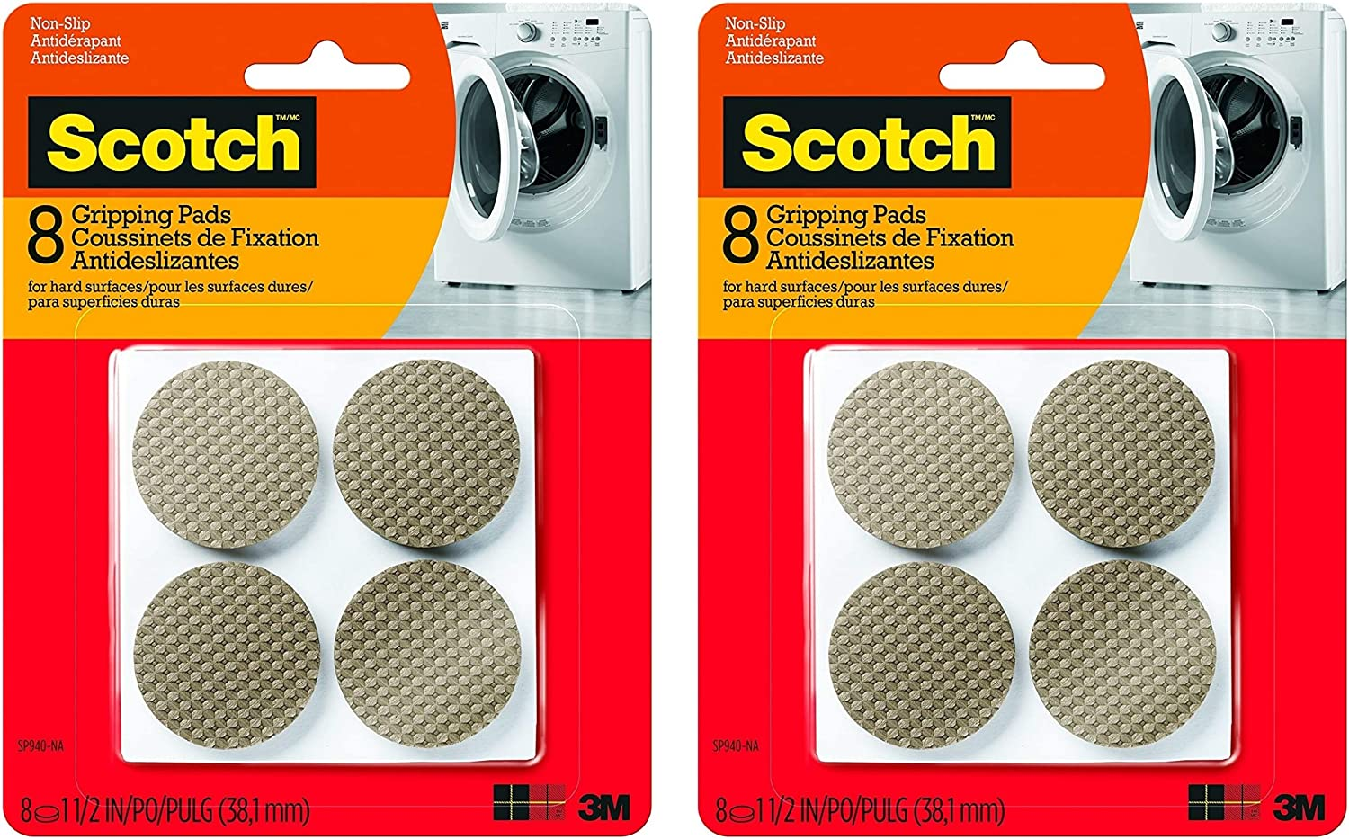 8 Pads//Pack Round - 2 Pack SP940-NA Brown Scotch Gripping Pads 1.5-Inch Diameter