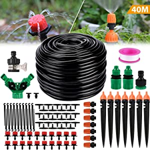 "Philonext Drip Irrigation,130ft/40M Garden Irrigation System, Adjustable Automatic Micro Irrigation Kits,1/4"" Blank Distribution Tubing Hose Suit for Garden Greenhouse, Flower Bed,Patio,Lawn (40M)"