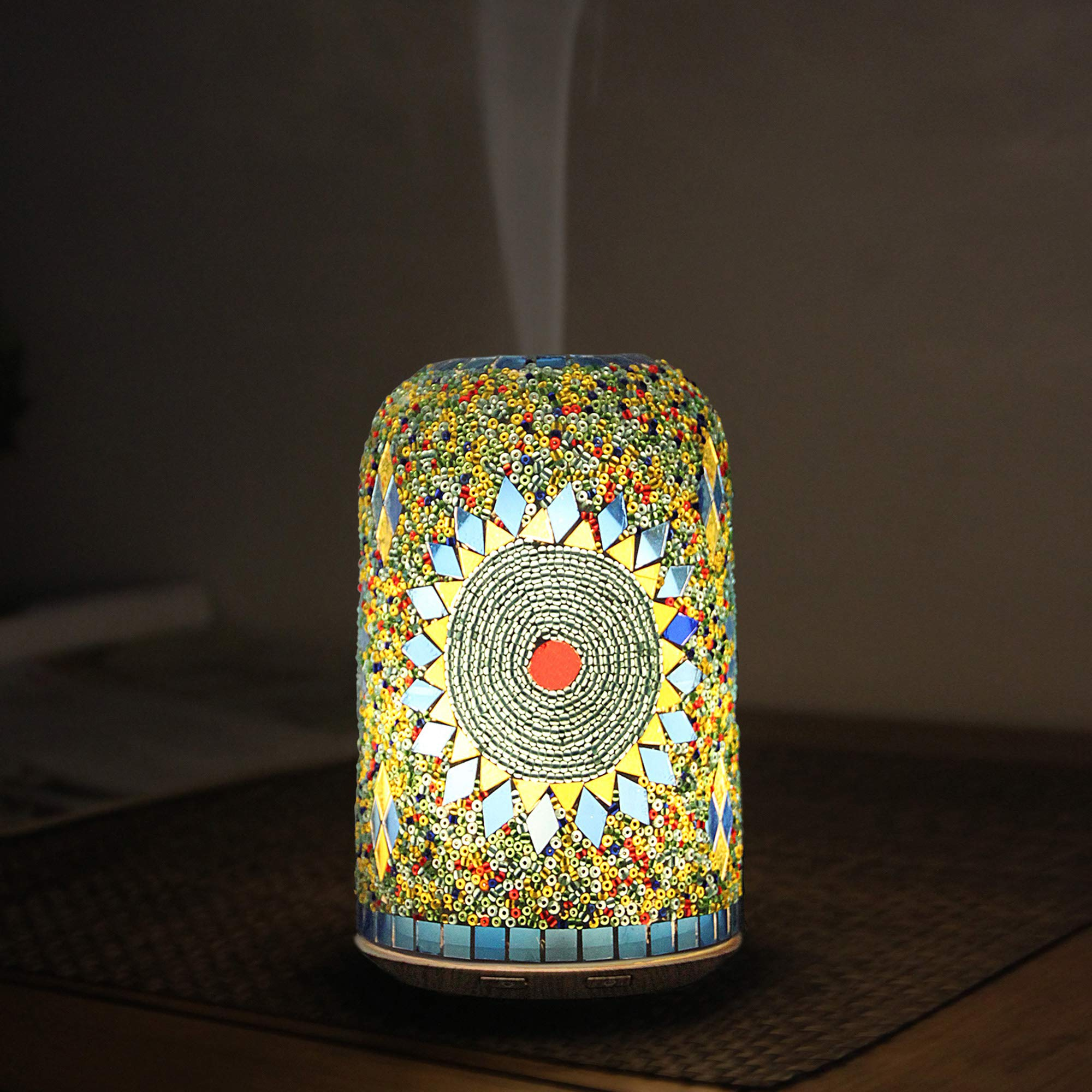 Vyaime Hand-inlay Essential Oil Diffuser Handmade Glass Mosaic Decoration, Magic 7 Color LED Lights Ultrasonic Aromatherapy Auto Shut-off with Intermittent Mode Humidifier for Office Home(Sunflower)