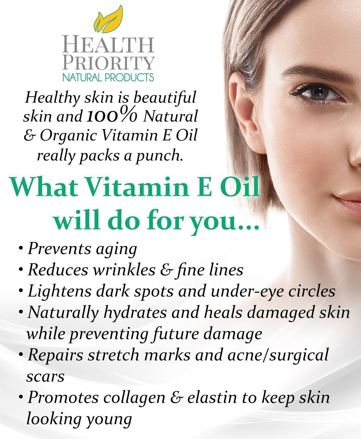 100% All Natural & Organic Vitamin E Oil For Your Face & Skin - 15,000/30,000 IU - Reduces Wrinkles, Lightens Dark Spots, Heals Stretch Marks & Surgical Scars. Best Treatment for Hair, Nails, Lips by Health Priority Natural Products (Image #4)
