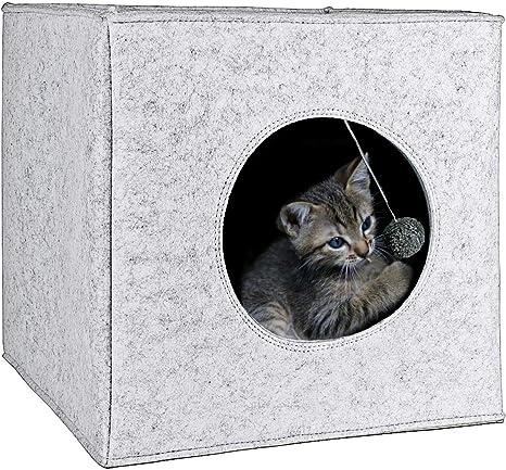Cama Cueva para Gatos con cojín extra grueso. Casa de fieltro para ...