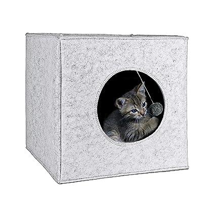 Cama Cueva para Gatos con cojín extra grueso. Casa de fieltro para mascotas adaptable a muebles de 33,5 x 33,5 cm. Materiales de alta calidad con ...