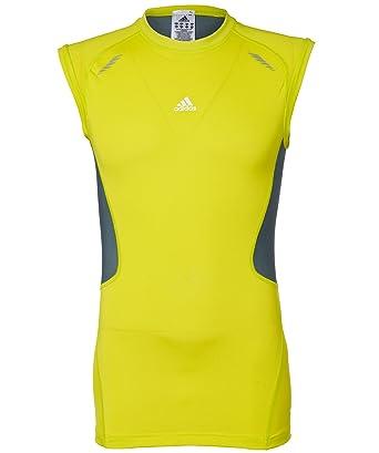 Adidas Techfit - Camiseta para hombre, tamaño L, color lab lime