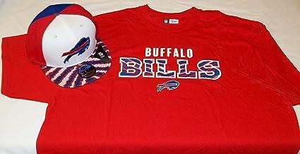 more photos 9f0fe 9565b Amazon.com : Zubaz Buffalo Bills Red Tee Shirt (Large) & Hat ...