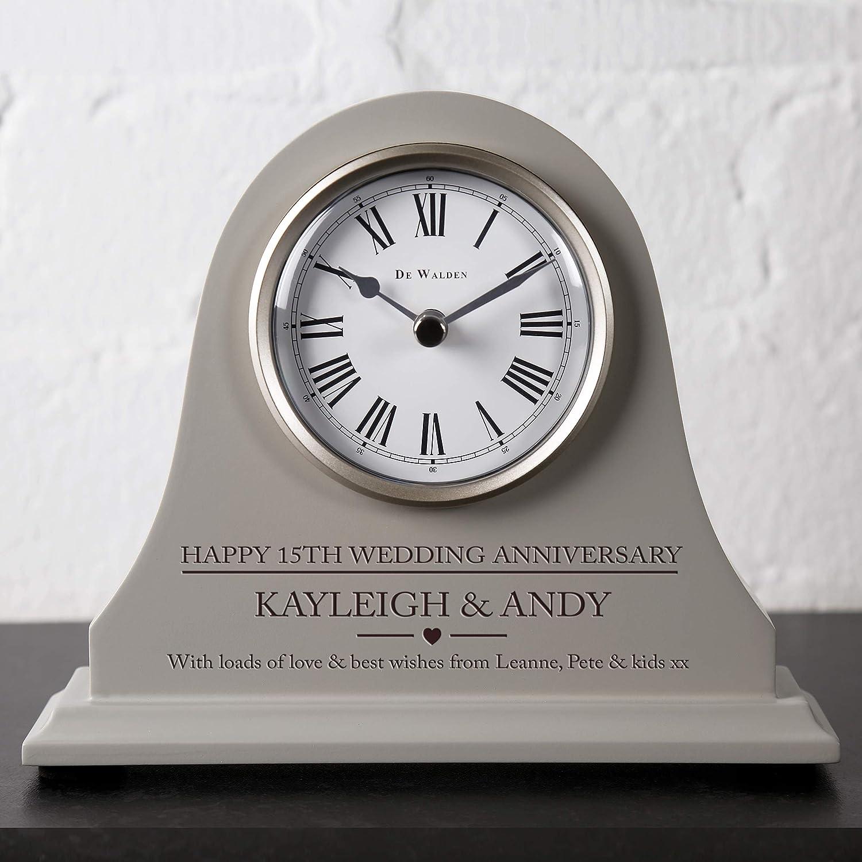 De Walden 15th Crystal Wedding anniversary couple gift Engraved Grey Mantel Clock 15 Years