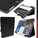 """igadgitz Premium Folio Noir Cuir PU Etui Housse Case Cover pour Samsung Galaxy Tab S 10.5"""" SM-T800 avec Mise en Veille / Réveil + Support Multi-Angles + Support pour le Stylet + Protecteur D'écran"""