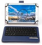 Raytrektab DG-D08IWP ケース,【IVSO】 Raytrektab DG-D08IWP キーボード (7-8インチのタブレットも適用) 開閉で自動的 PUレザーケース マグネット着脱可能 一体型ワイヤレスキーボード(ブルー)