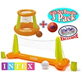 "Intex Floating Pool Volleyball Game & Floating Hoops Basketball Game with Exclusive Matty's Toy Stop 4.25"" Vinyl Basketball Gift Set Bundle - 3 Pack"