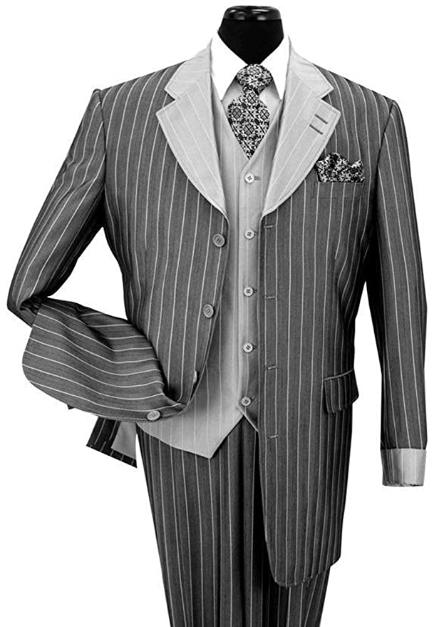 Men's Vintage Style Coats and Jackets  Pinestripe Fashion Suit with Contrast Collar Cuffs & Vest  4 Colors $126.99 AT vintagedancer.com