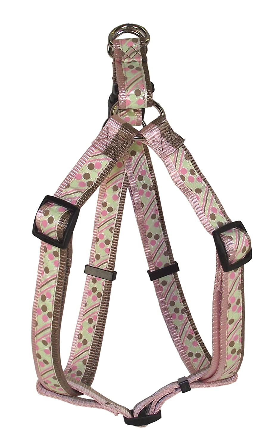 Hamilton Spumoni Collection Nylon Adjustable Easy-On Dog Harness, 1-Inch by 30 to 40-Inch, Dots and Stripes