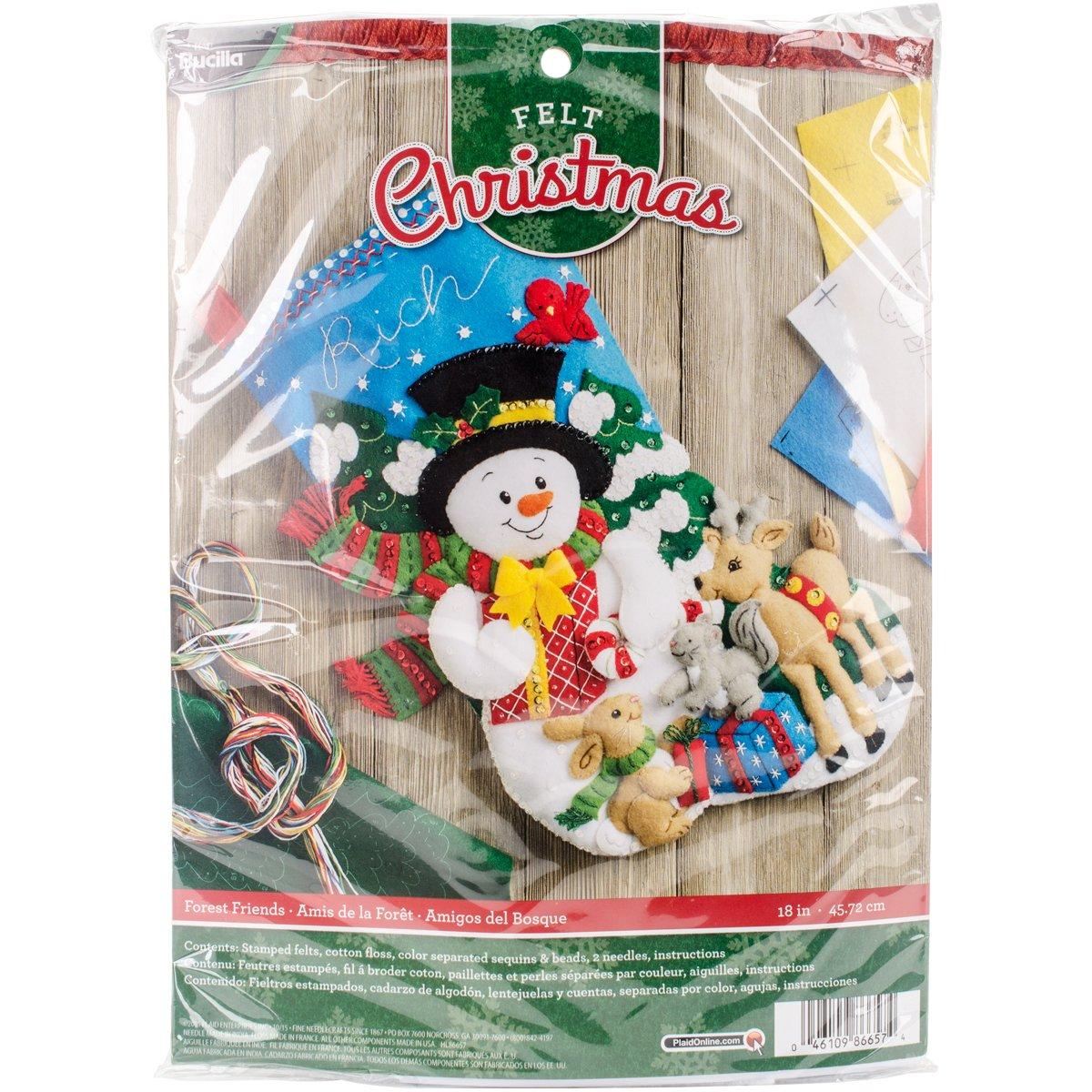 Bucilla 18-Inch Christmas Stocking Felt Applique Kit, 86657 Forest Friends Plaid Inc