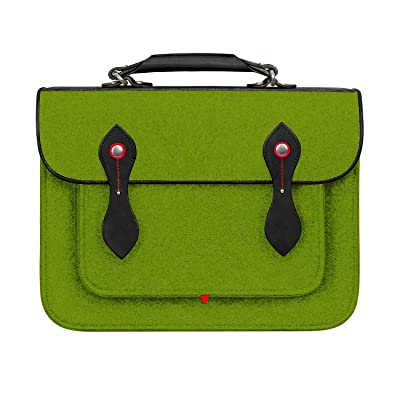 TOPHOME Laptop Backpack Cambridge Wool Felt Shoulder Strap Bag Genuine Leather Holder Protector Briefcase Sleeve for 15.4 inch MacBook Notebook Tablet Acer/HP/Dell/Lenovo (green) new