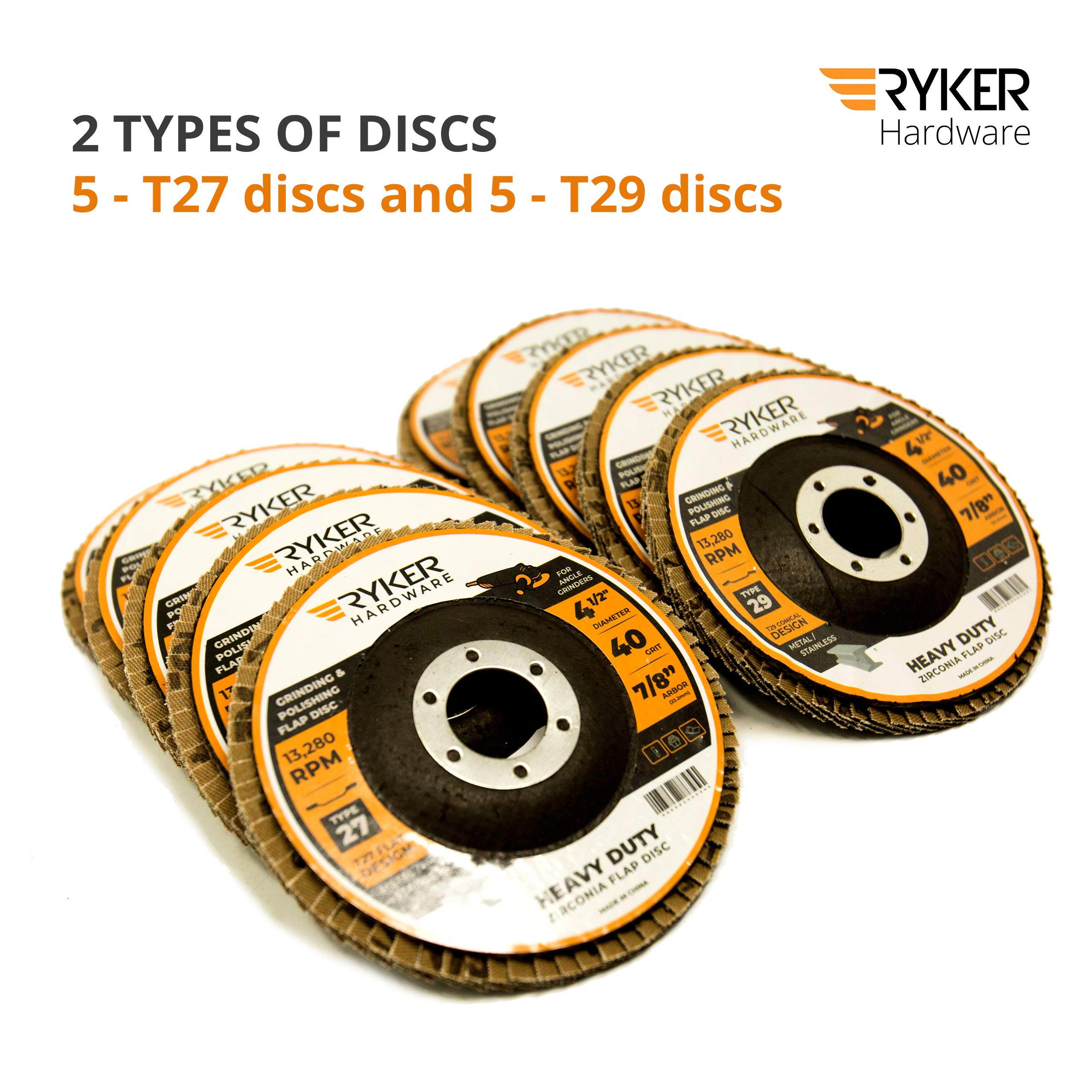Ryker Hardware Premium Zirconia 40-Grit Flap Disc (10 Pack) 4.5 Inch x 7/8 Inch Abrasive Grinding Wheels | Type 27 and Type 29-5 of Each Grinder Disc