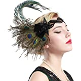 BABEYOND 1920s Flapper Peacock Feather Headband 20s Sequined Showgirl Headpiece