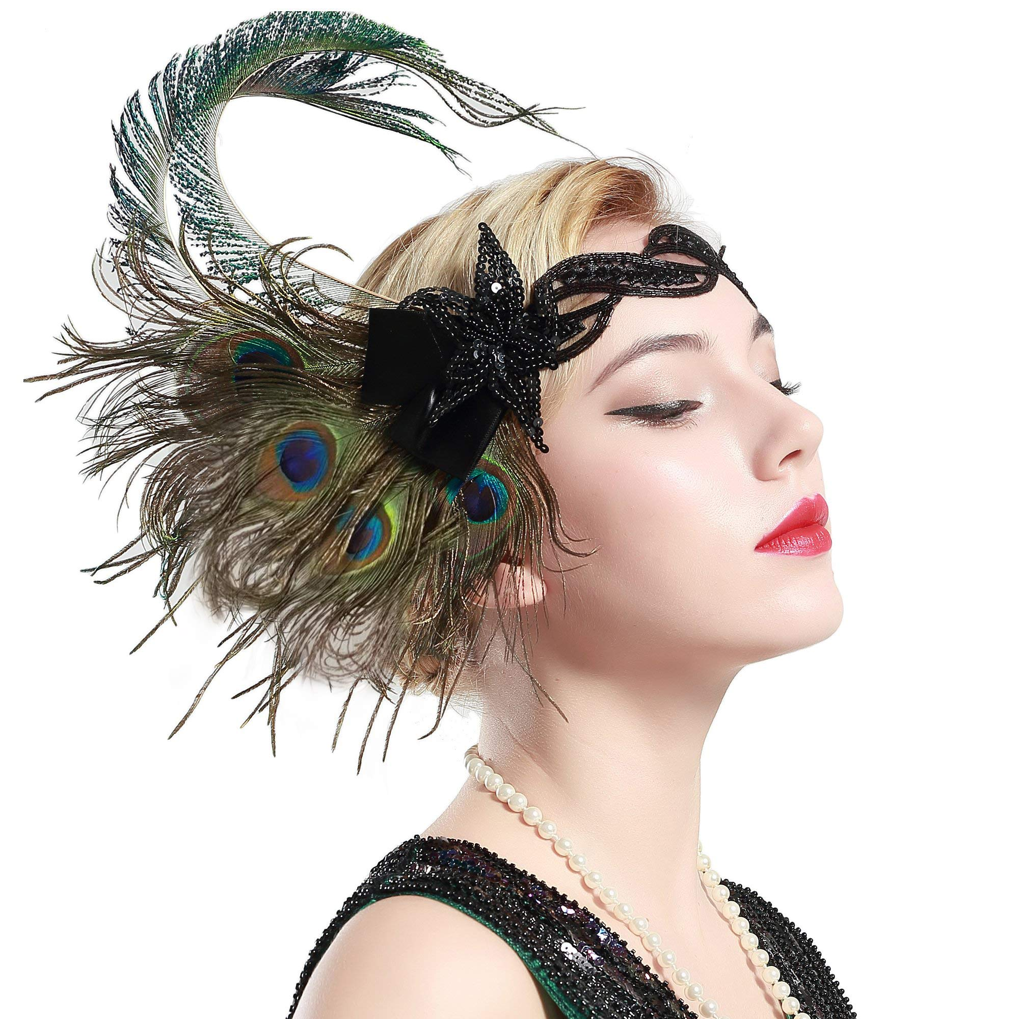 BABEYOND 1920s Flapper Peacock Feather Headband 20s Sequined Showgirl Headpiece (Style-4) by BABEYOND
