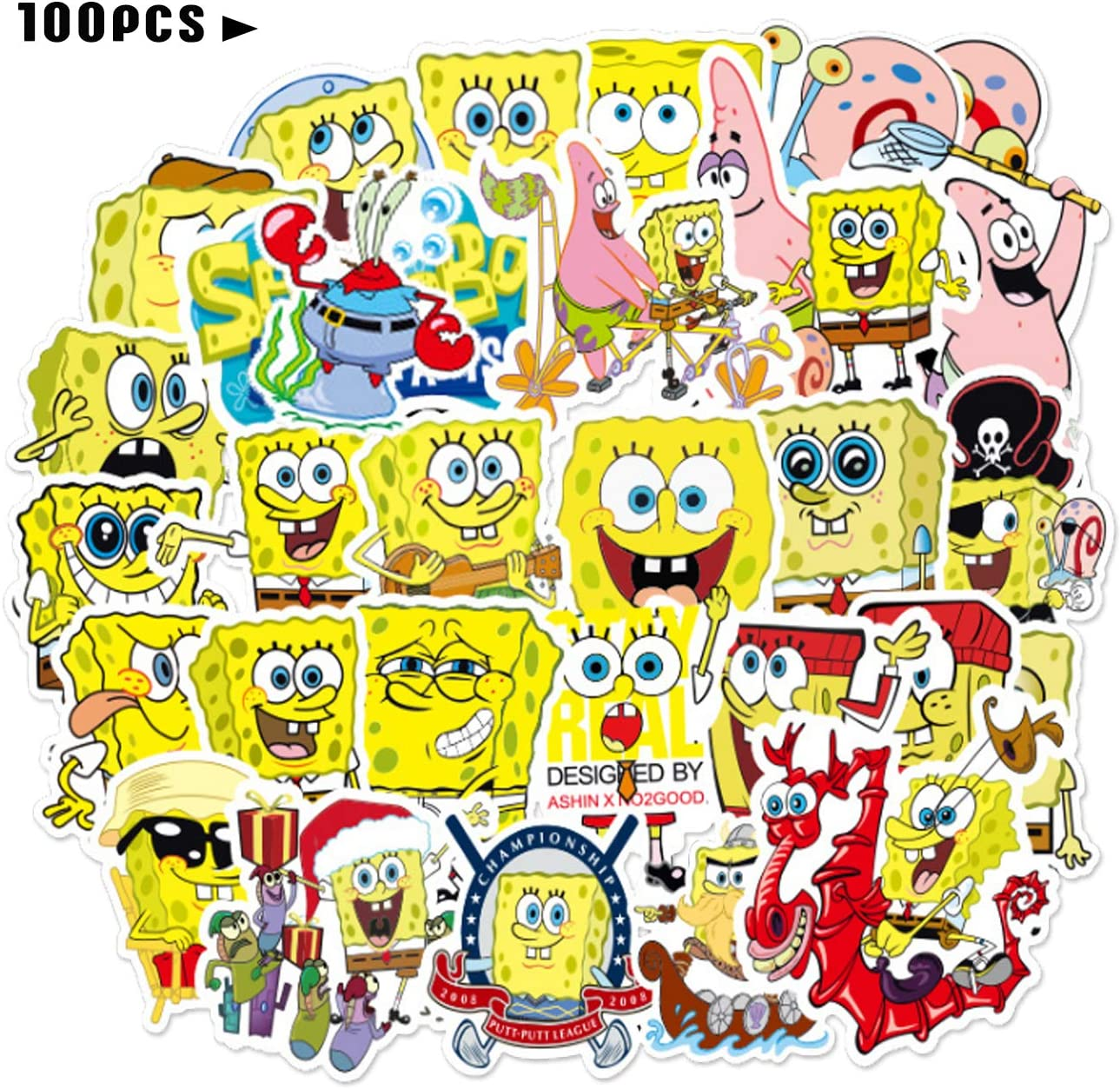 100pcs Spongebo_b Stickers Cartoon Meme Vinyl Water Bottle Skateboard Guitar Stickers Waterproof for Kids Teens Adults Luggage Laptop Decal Stickers