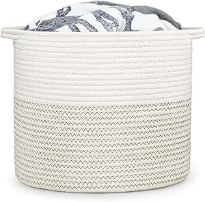 "DUUMI Cotton Rope Small Storage Basket 11.4"" x 11.4"",Rope Basket,Baby Nursery Hamper For Toy Storage"
