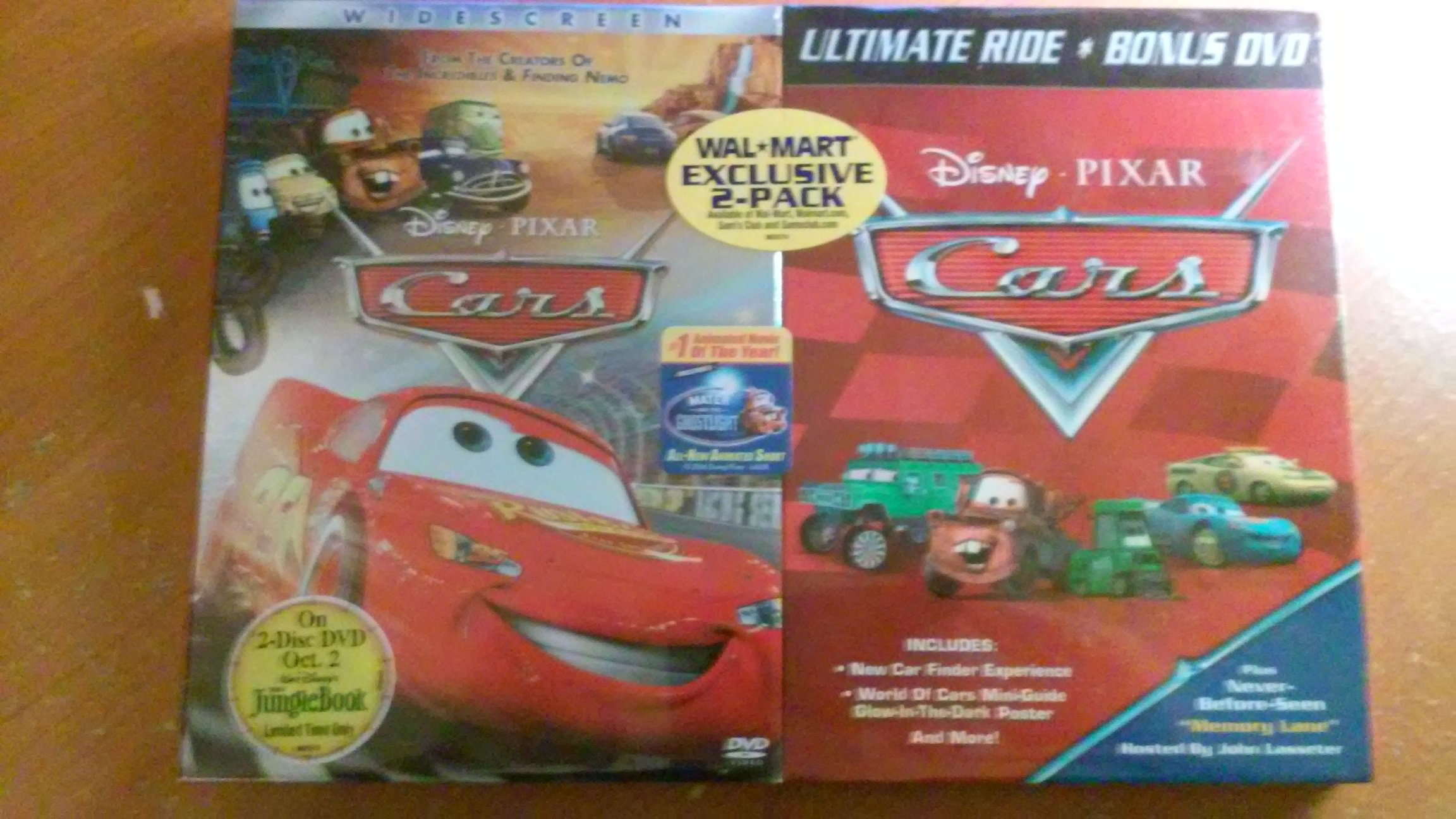 Disney Pixar Cars Widescreen DVD + Ultimate Ride Bonus DVD