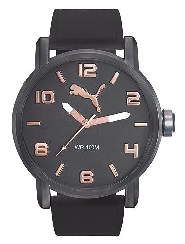 Puma Alternative Round - Reloj análogico de cuarzo con correa de silicona para hombre, color negro/gris: Amazon.es: Relojes