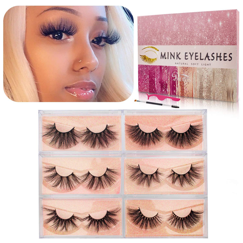 Fake Eyelashes, 21mm to 26mm 3D Mink Eyelashes Dramatic Long Type 6 Styles Crossed Cluster 100% Siberian Fur False Eyelashes Hand Made Strips Eyelashes Reusable Make Up Lahses