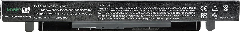 4 Cellules 2200mAh 14.4V Noir Green Cell/® Standard S/érie Batterie pour ASUS X552C Ordinateur PC Portable