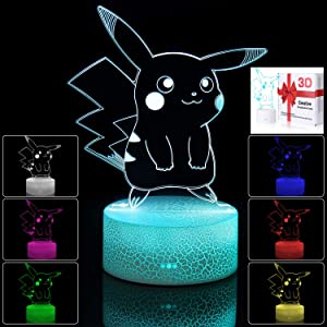 3D Illusion LED Night Light,7 Colors Gradual Changing Touch Switch USB Table Lamp for Holiday Gifts or Home Decorations