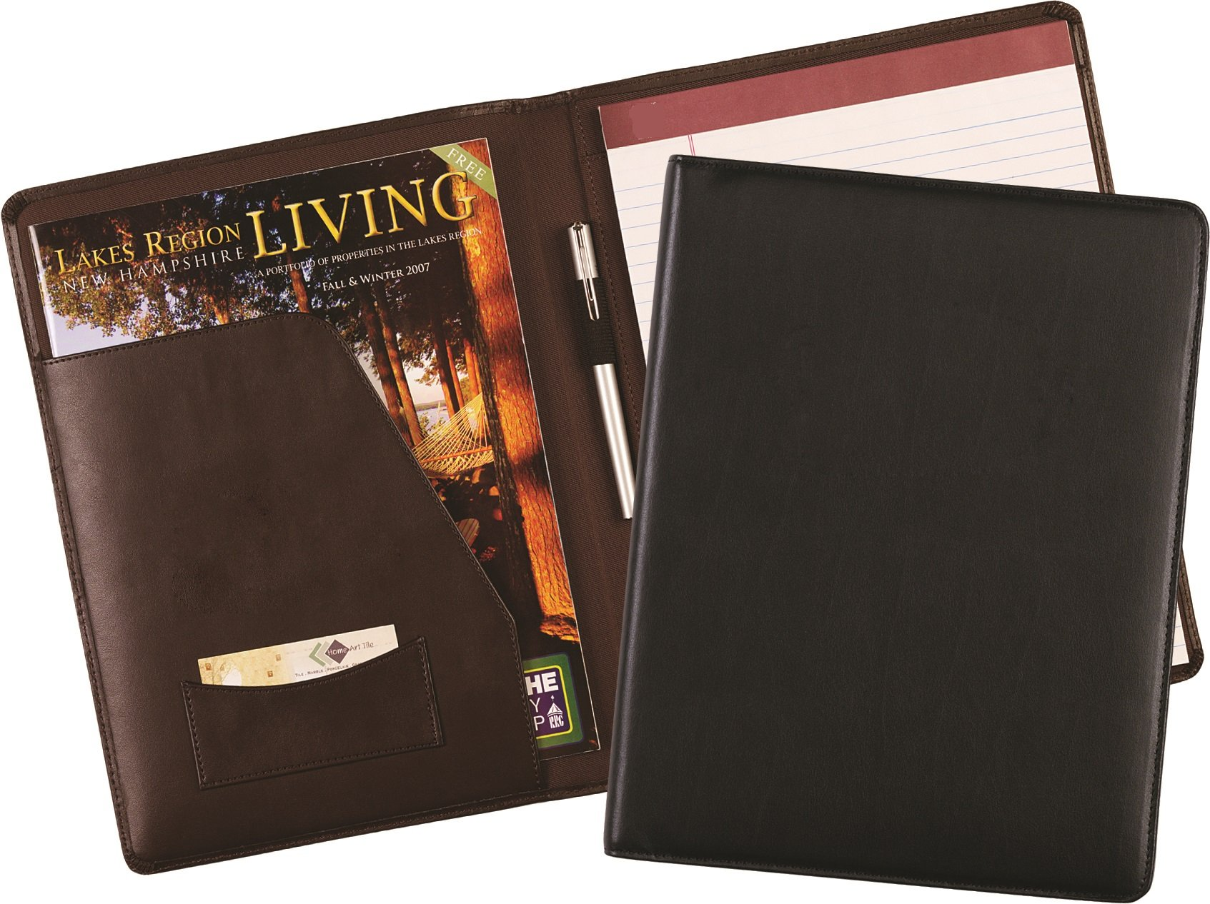 Leather Padfolio with Letter Size Writing Pad, Black
