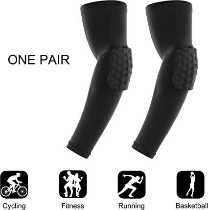 Sport Compression Arm Sleeve Protective Elbow Padded Football Basketball Cycling
