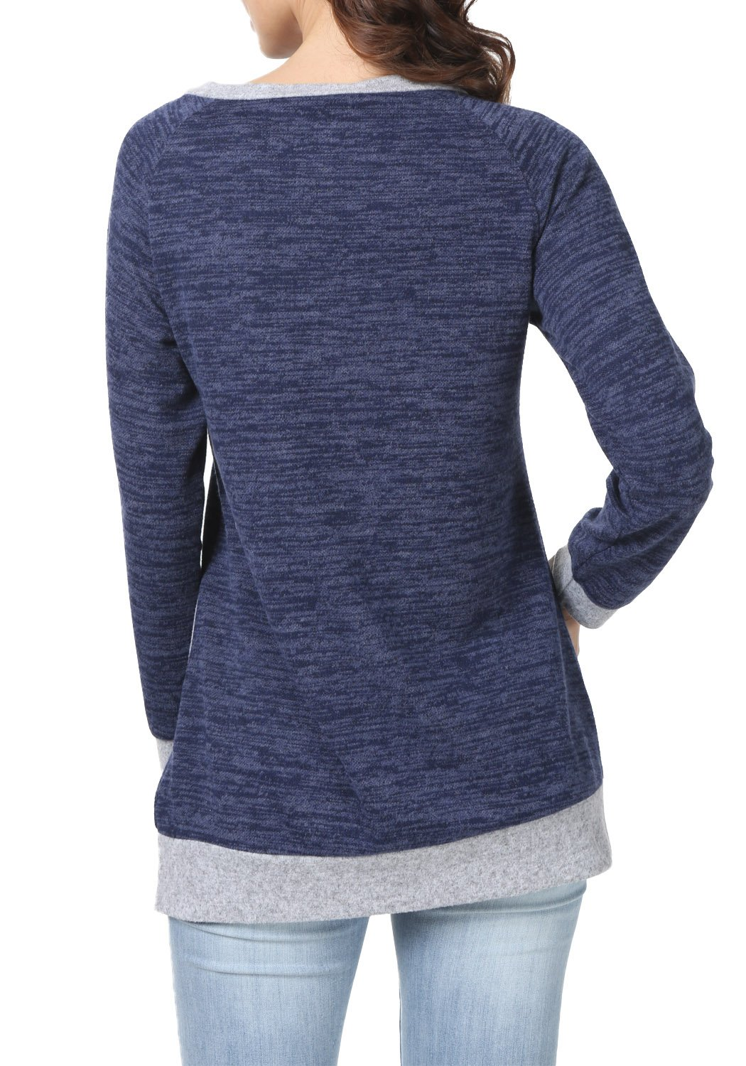 levaca Womens Long Sleeve O Neck Cross Loose Fit Casual Blouse Tunic Tops Blue M by levaca (Image #4)