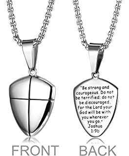 Amazon necklace shield of faith cross w24 chain uncarded loyallook stainless steel shield of faith engraved joshua 19b armor of god cross pendant aloadofball Images