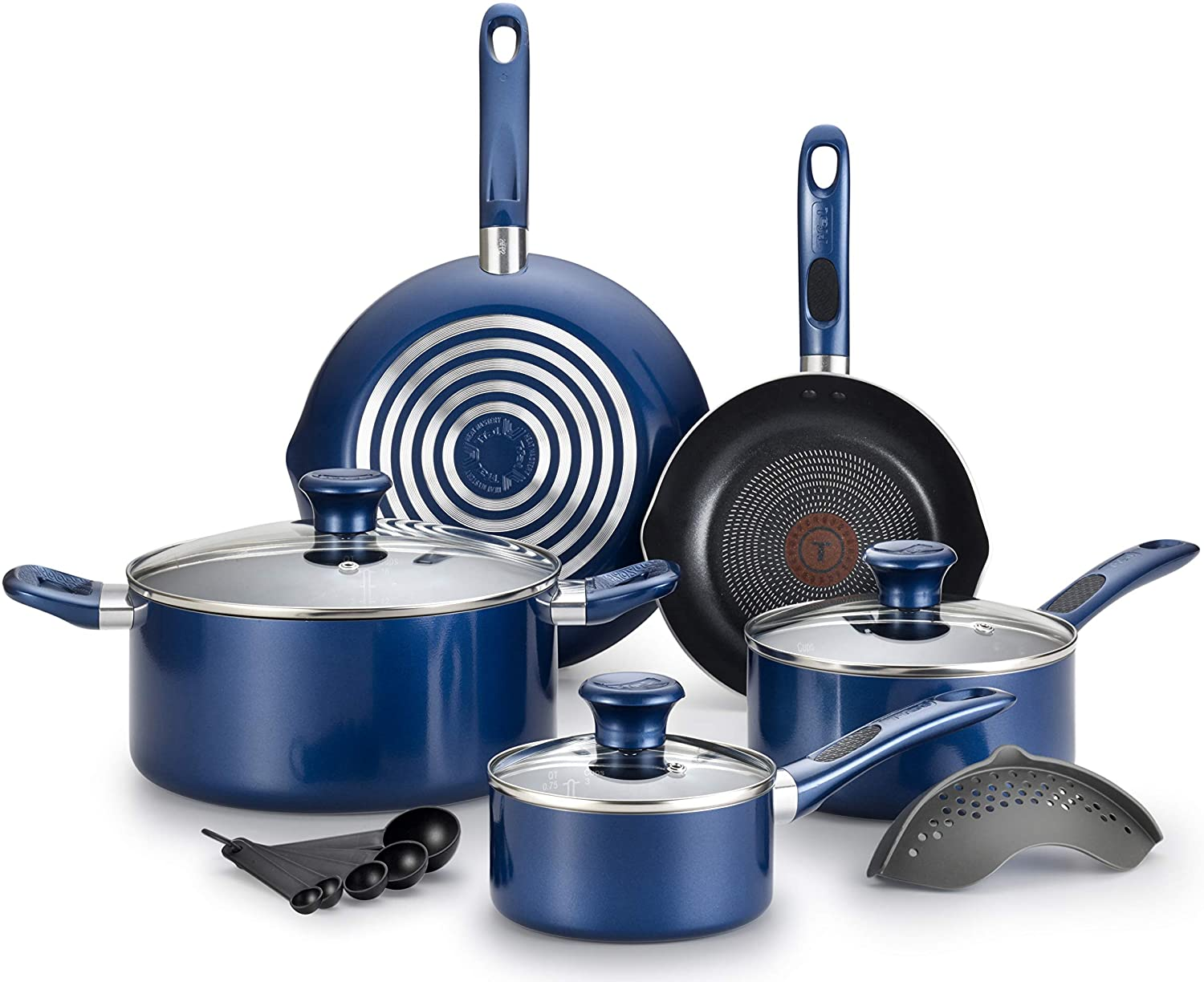 T-fal Excite ProGlide Nonstick Thermo-Spot Heat Indicator Dishwasher Oven Safe Cookware Set, 14-Piece, Blue