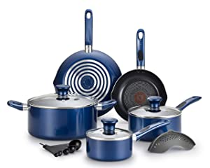 T-fal B037SE64 B037SE Excite ProGlide Nonstick Thermo-Spot Heat Indicator Dishwasher Oven Safe Cookware Set, 14-Piece, Blue
