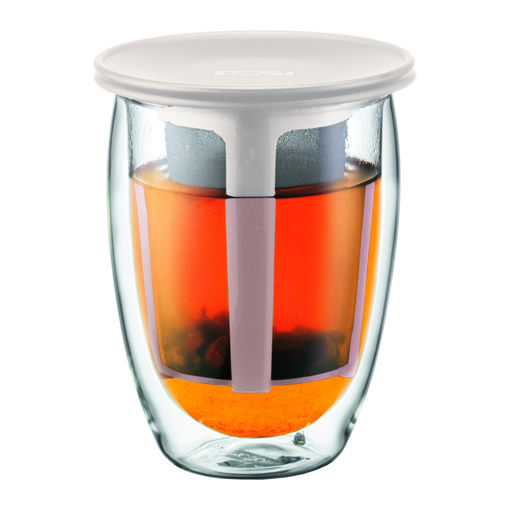 Bodum TEA FOR ONE Double Wall Glass and Tea Strainer, Off white