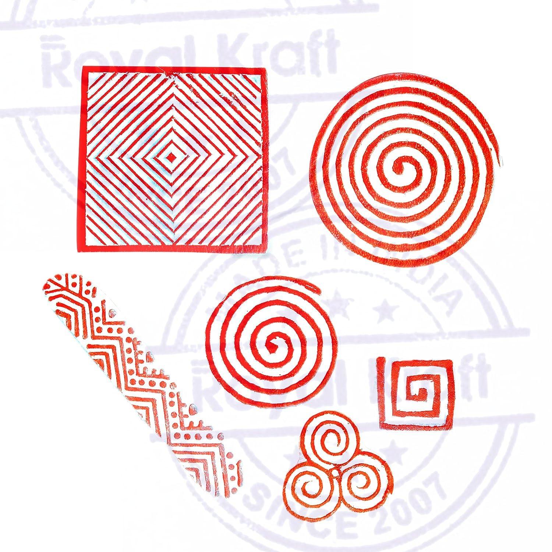 Set de 6 Royal Kraft Indio Patr/ón Espiral y Dedo Madera Sellos para Impresi/ón