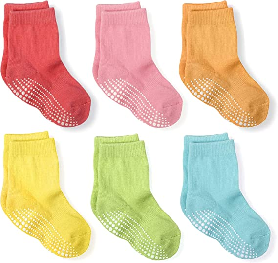 6 Pairs Baby Socks Crew Grip Socks Non Slip Cotton Kids Grip Ankle Socks Anti-skid for Infant Newborn Boys Girls