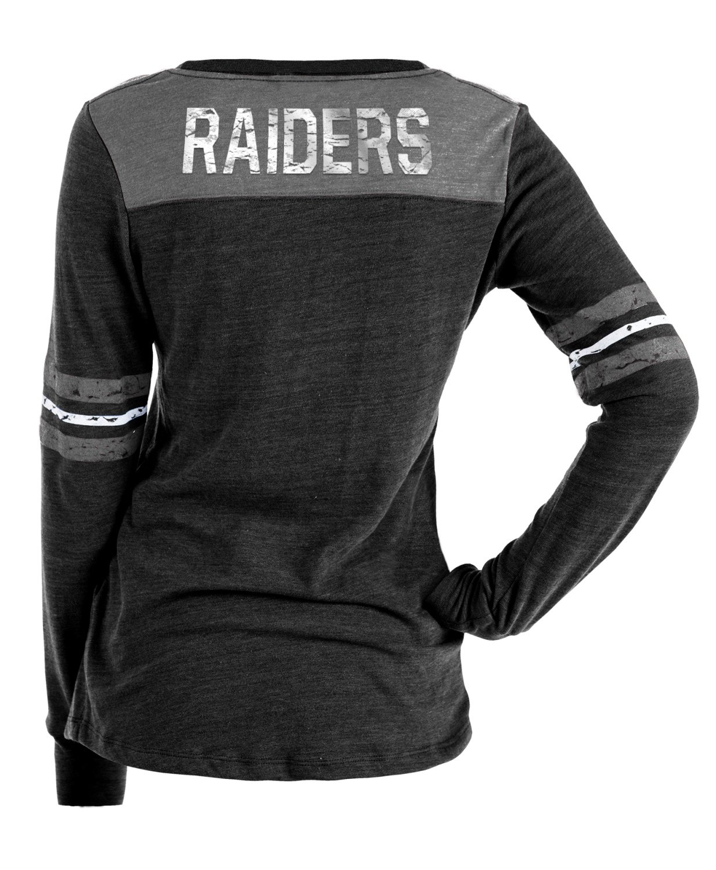 1f81e139bed Amazon.com   New Era Oakland Raiders Women s Long Sleeve Tri-Blend Striped T -shirt   Sports   Outdoors
