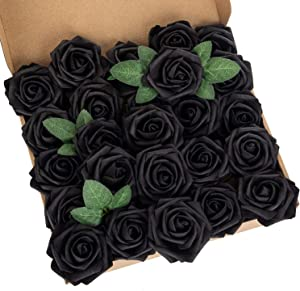 LuLuHouse 25pcs Artificial Flower Foam Rose Black Real Touch Roses Flower Heads with Stem for DIY Wedding Bouquets Centerpieces Arrangements Party Baby Shower Home Decor (25, Black)