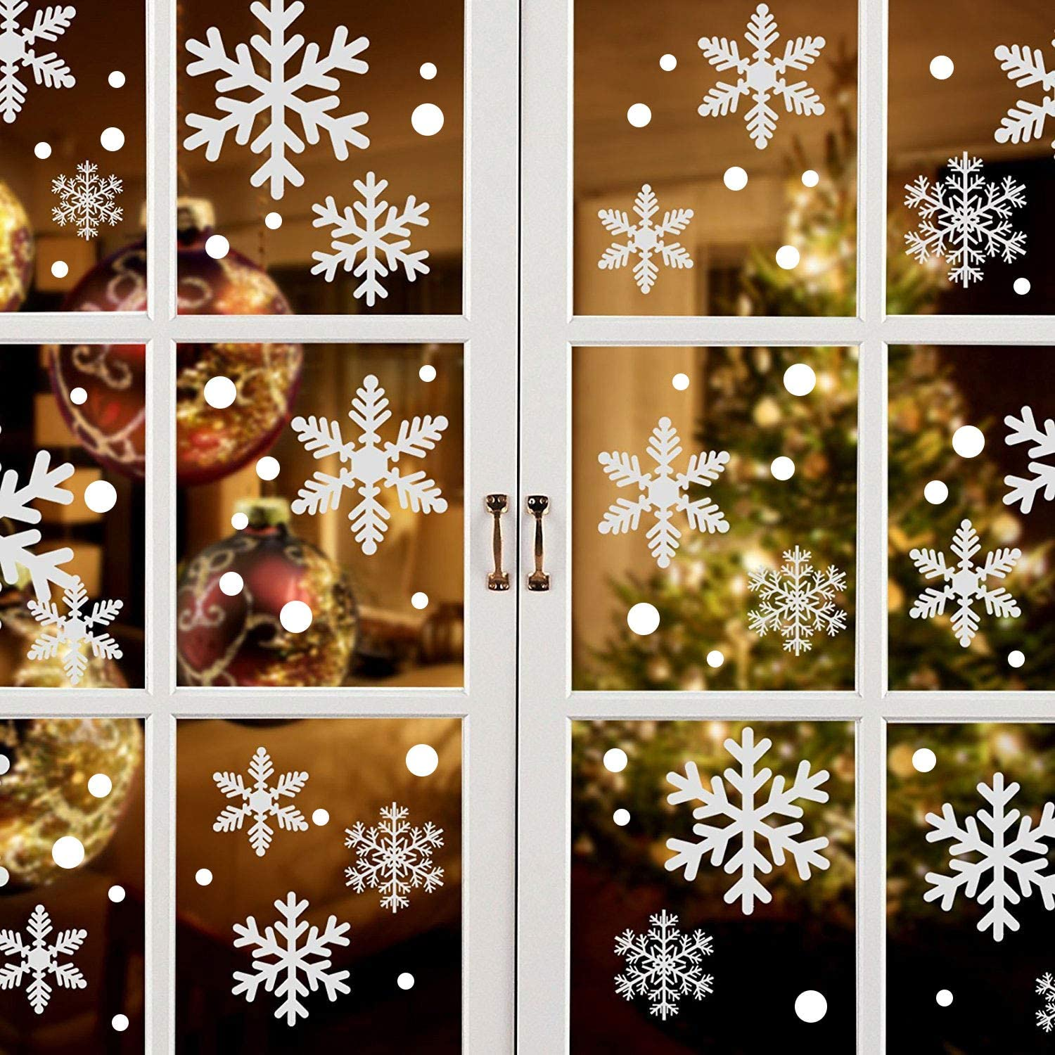 223PCS+ Christmas White Snowflakes Window Clings Decal Stickers for Winter Frozen Party Supplies Wonderland Decorations Ornaments (9 Sheets)
